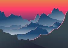 Montagnes bleues dans le brouillard Illustration de vecteur Photos stock