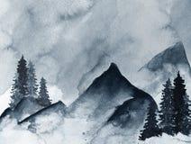 Montagnes bleues en brouillard tiré par la main avec l'encre dans le style minimaliste illustration libre de droits