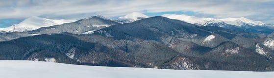 Montagnes carpathiennes neigeuses d'hiver, Ukraine photos stock