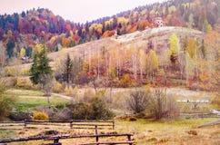 Montagnes carpathiennes pendant l'automne Scène colorée de paysage d'automne Photographie stock