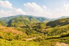 Montagnes décimées de déboisement photo stock