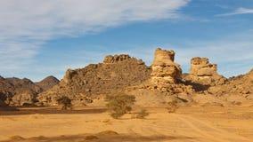 Montagnes d'Akakus, désert de Sahara, Libye Images libres de droits