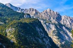 Montagnes d'Alpes couvertes de for?t, Koenigssee, Konigsee, parc national de Berchtesgaden, Bavi?re, Allemagne photos stock