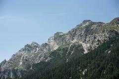 Montagnes d'alpes d'été avec le ciel bleu clair ; Photos stock
