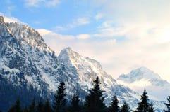Montagnes d'Alpes en hiver Image libre de droits