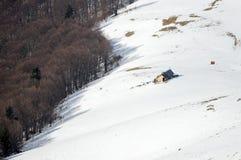 Montagnes d'Azuga pendant l'hiver 2017 Photographie stock