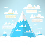 Montagnes dans le simple infographic de tourisme de nuages Photo stock