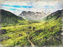 Montagnes de Caucase près de Roshka Massif de Chaukhi et lacs Abudelauri Khevsureti, la Géorgie Digital Art Impasto Oil Painting illustration stock