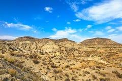 Montagnes de désert de Tabernas, Andalousie, Espagne. Photo stock