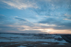 Montagnes de Milou au coucher du soleil Images stock