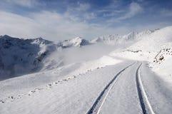 Montagnes de neige avec la route Images stock