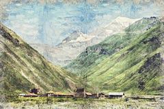 Montagnes de paysage de belle vue, la Géorgie Digital Art Impasto illustration libre de droits