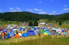 Montagnes de Rhodope campant, Bulgarie Photos libres de droits