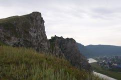 Montagnes de village de photo Photo stock