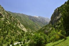 Montagnes en gorge de Galuyan, Kirghizistan Images stock