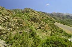 Montagnes en gorge de Galuyan, Kirghizistan Images libres de droits