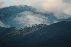 Montagnes en nuages au coucher du soleil Images stock