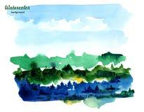 Montagnes et belle for?t pr?s du lac Les pierres approchent le lac et les arbres et les montagnes refl?t?s dans l'eau illustration de vecteur