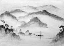 Montagnes et eau de peinture chinoise Photos libres de droits