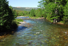 Montagnes et fleuve d'été Photos libres de droits