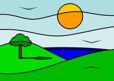 Montagnes et lac illustration libre de droits