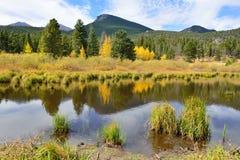Montagnes et lac alpin avec la réflexion en automne Image stock