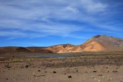 Montagnes et lac colorés dans les Andes péruviens Photos libres de droits