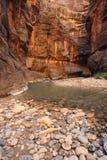 Montagnes, falaises, roches et fleuve Images libres de droits