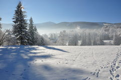 Montagnes géantes/Karkonosze, hiver de Karpacz Photo stock