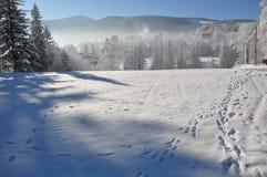 Montagnes géantes/Karkonosze, hiver de Karpacz Photographie stock libre de droits
