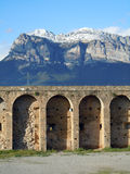 Montagnes Huesca Espagne de Pyrénées de château d'Ainsa Photos stock