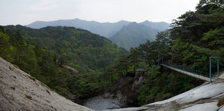 Montagnes panorama, DPRK (Corée du Nord) de Myohyang Photo stock