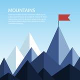 Montagnes polygonales avec un drapeau sur le dessus Concept d'affaires de Photos libres de droits