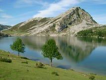 Montagnes réfléchies sur le lac Images libres de droits