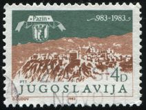 Montagnes représentées sur la gravure par Valvasar Photos libres de droits