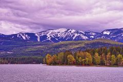 Montagnes rocheuses et lac whitefish Images stock