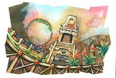 montagnes russes maya de parc à thème Image stock