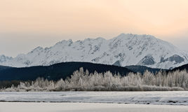 Montagnes Snowcovered en Alaska. photos stock