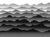 Montagnes tramées noires et blanches dans le brouillard Fond de vecteur illustration stock