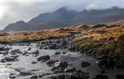 Montains and torrent in Sligachan Royalty Free Stock Photo