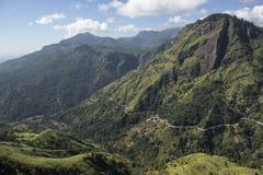 Montains verdi con le piantagioni di tè Ella, Sri Lanka Fotografie Stock Libere da Diritti
