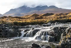 Montains and Waterfalls in Sligachan, island of Sye, Scotland Royalty Free Stock Image