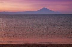 Montaje Athos, puesta del sol, Grecia Foto de archivo libre de regalías