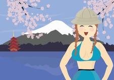 Montaje cercano turístico sonriente Fuji de la mujer en Japón ilustración del vector
