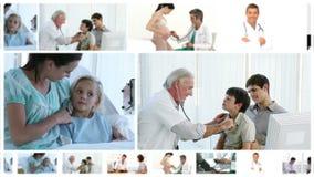 Montaje de doctores con sus pacientes almacen de metraje de vídeo
