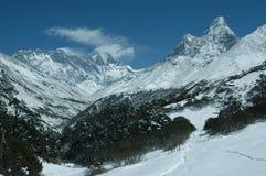 Montaje de Everest y de Ama Dablam Imagen de archivo
