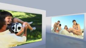 Montaje de familias afuera almacen de video