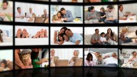 Montaje de familias en diversas situaciones Fotografía de archivo libre de regalías