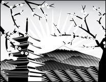 Montaje de Fuji, árbol de sakura ilustración del vector