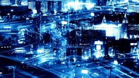 Montaje de la ciudad azul en la noche almacen de video